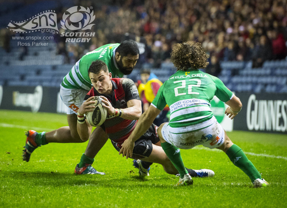 Damien Hoyland of Edinburgh Rugby scores the first try of the game as his side go onto defeat Treviso at BT Murrayfield.