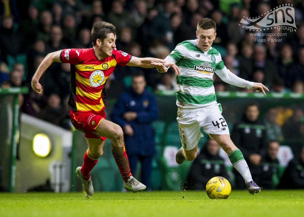 Partick Thistle's Callum Booth competes with Callum McGregor of Celtic for the ball at Celtic Park.