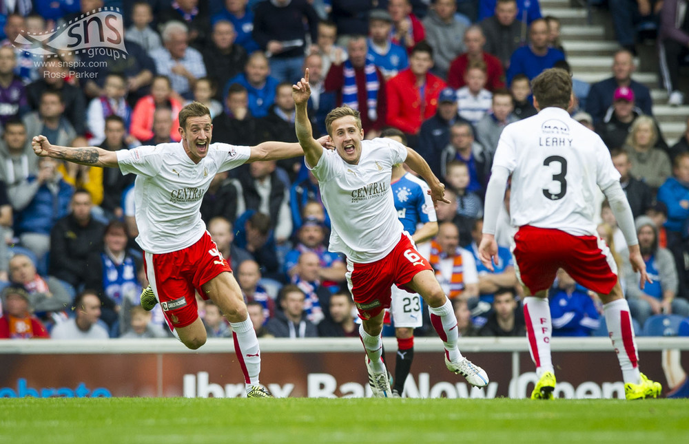 Will Vaulks of Falkirk celebrates giving his side the lead against Rangers at Ibrox Stadium