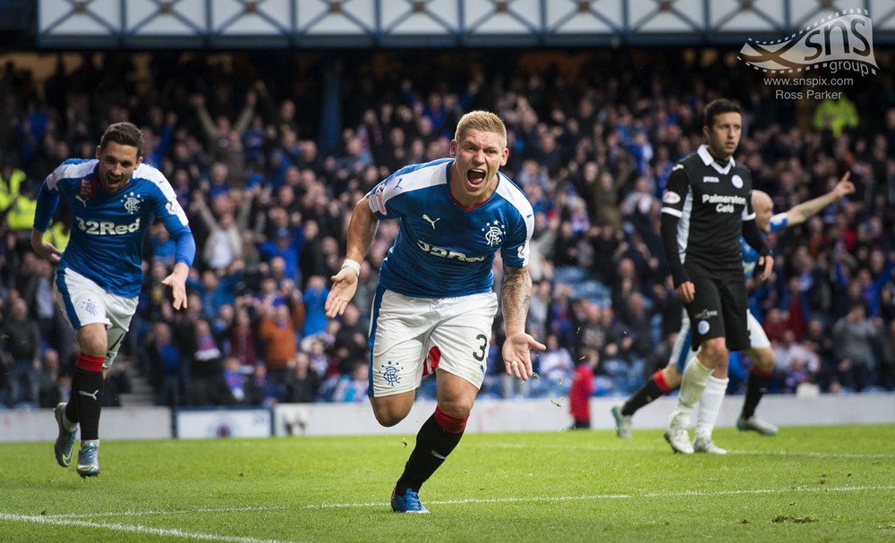 Martyn Waghorn celebrates heading Rangers late winner against Queen of the South at Ibrox.