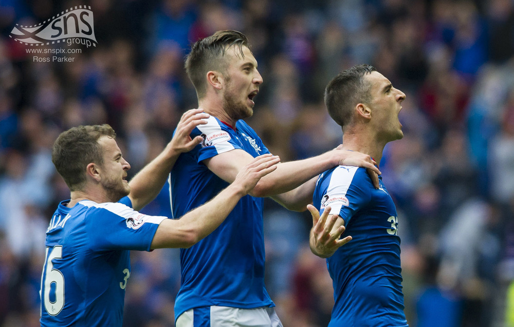 Rangers captain Lee Wallace celebrates after putting his side 3-1 up against Falkirk at Ibrox.