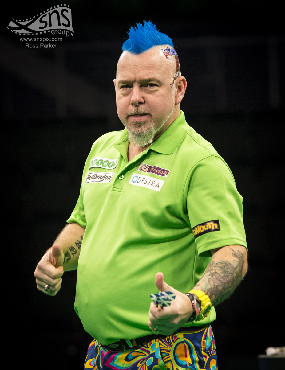 "Peter ""Snakebite"" Wright competes at the World Series of Darts at the Braehead Arena in Glasgow."