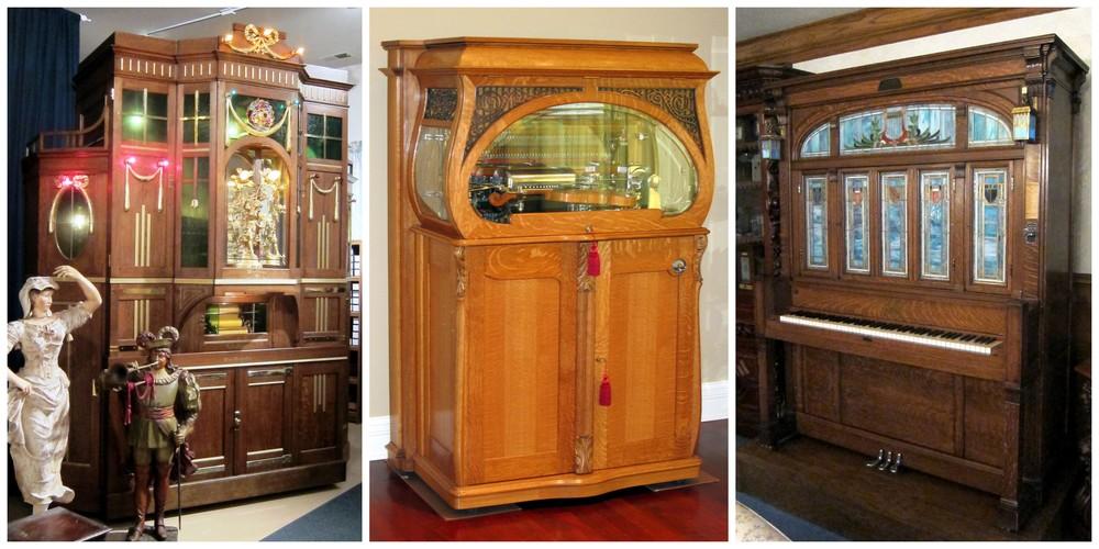 Left to right: Wurlitzer 33 Mandolin PianOrchestra, Commercial Model Violano Virtuoso, Cremona J.