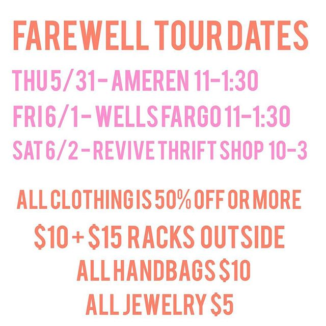 So this is basically the worst announcement we've ever made, but we're saying goodbye to the retail industry and our big pink truck of fashion forever 💔 To find out why, click the link in our bio or visit rackandclutch.com. Our Farewell Tour will begin this week and hopefully conclude at @revivethrift this Saturday. Thank you for your support the past 5 years! We love you all!!