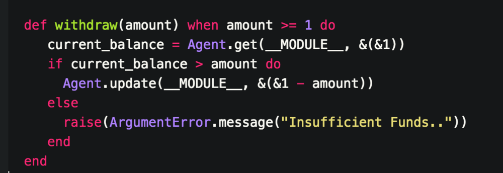 -once again we pass an amount but we need to make sure its more than 1. It doesn't make sense to allow any other type of value below 1  -Again we call on the Agent.update/3 function that takes the current state - the amount given by the user of the function.