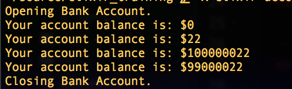 -BankAccount output