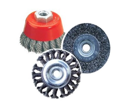 """WIRE BRUSH    Flat (Twisted   and   Crimped)    Cup (Twisted and Crimped)    2"""", 3"""", 4  """" , 5"""", 6""""    Application:  Stainless Steel,   Metal, Iron, Steel, and other   high tensile   alloys. Aggressive surface removal, light grinding and bending"""