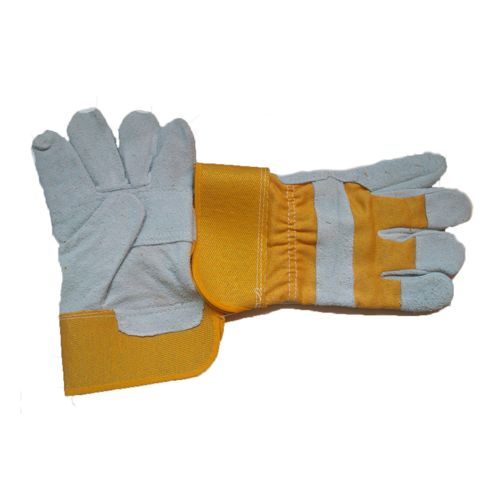 Working Glove 3 - Cow split leather, patched palm, rubberized cuff, yellow cotton fabric, half lining, AB grade.