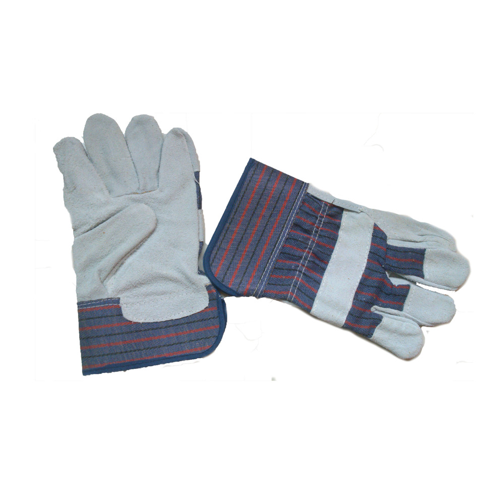 Working Glove 5 - Cow split leather, reinforced palm, rubberized cuff, red/blue drill fabric, half lining, AB grade.