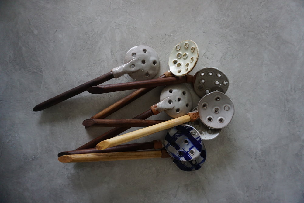 """Clay & Wood Slotted Serving Spoon approx. 12"""" long x 3"""" wide multiple glaze options available SRP $38 USD"""