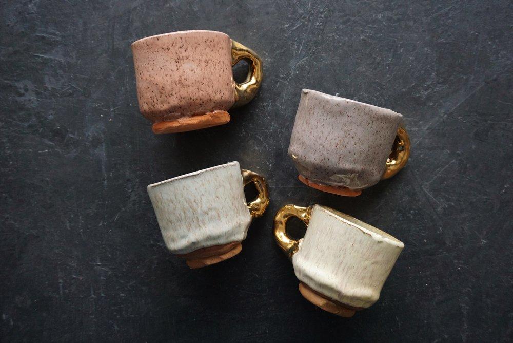 clay mug  8oz handmade mug  luster handle  SRP $38 USD
