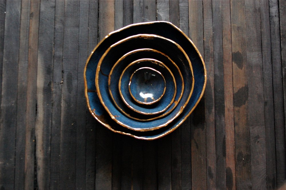 """nesting bowls  approx. 12"""" dia   multiple glaze options available  SRP $228 USD"""