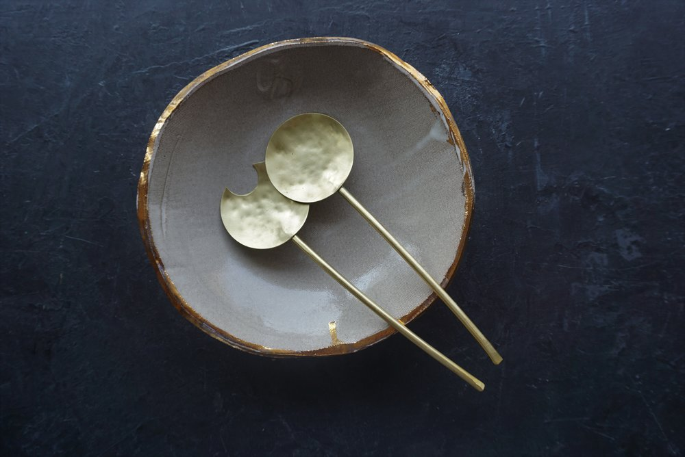 """serving dish  12"""" dia bowl with brass servers  multiple glaze options available  SRP $158 USD"""