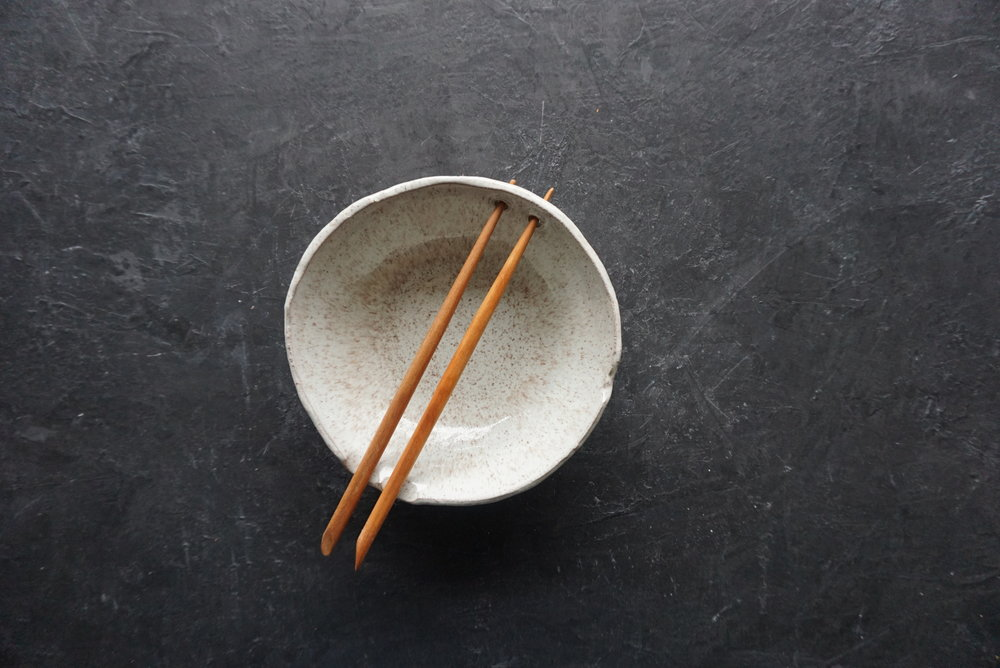 """pho bowl 8"""" dia with wooden chopsticks multiple glaze options available SRP $58 USD"""