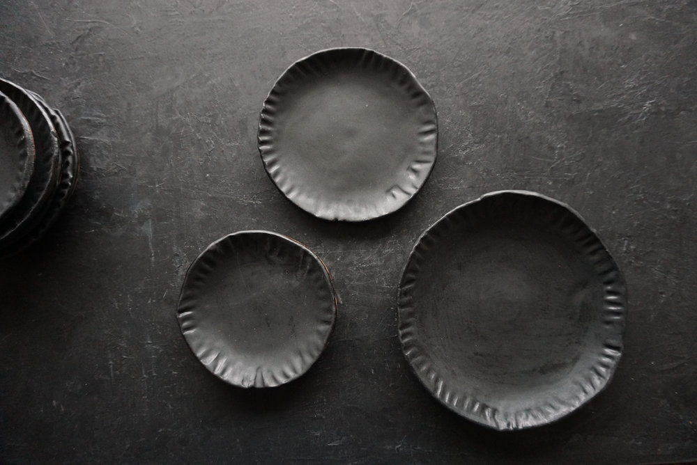 """fluted plates  5 - 10"""" plates  multiple glaze options available  SRP $18-48 USD"""