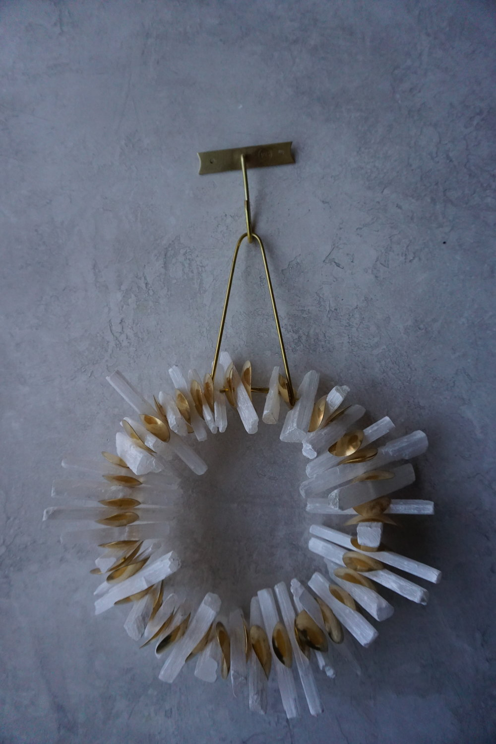 """Selenite & brass wall piece/wreath 14"""" dia includes brass hook for hanging SRP $800 USD"""