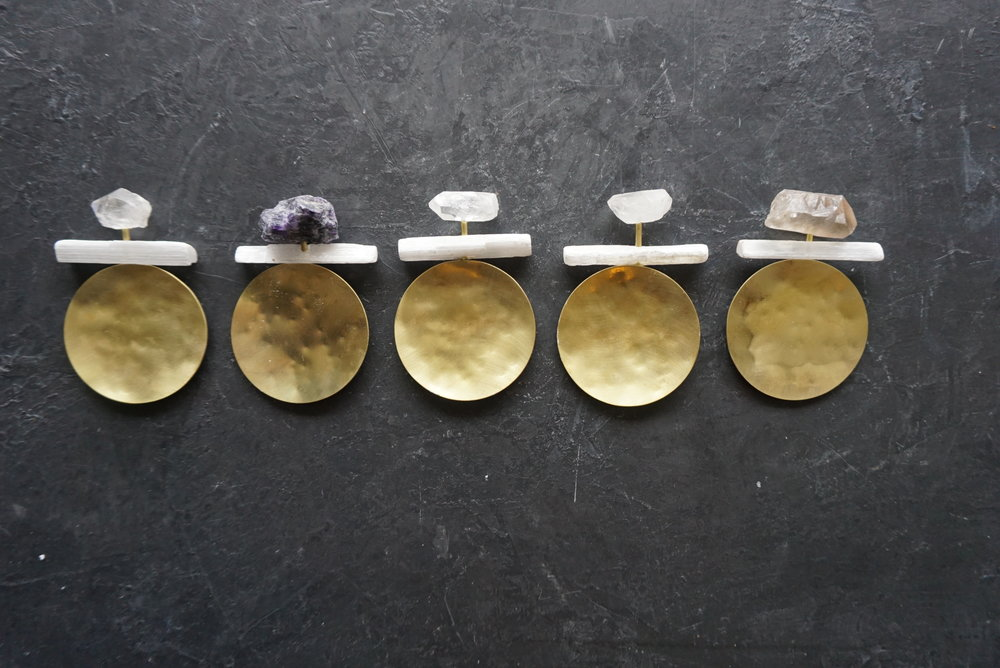 """mineral & brass trinket dish  3"""" dia dish   various minerals available  SRP $78 USD"""
