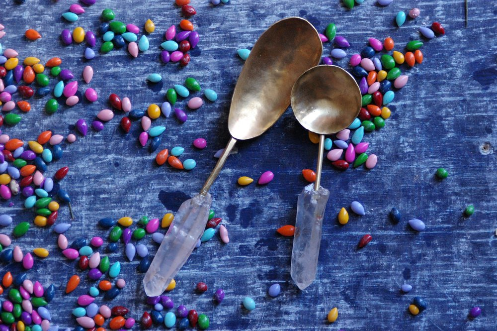 """quartz & brass scoop 6"""" long available in table spoon size SRP $88 USD"""