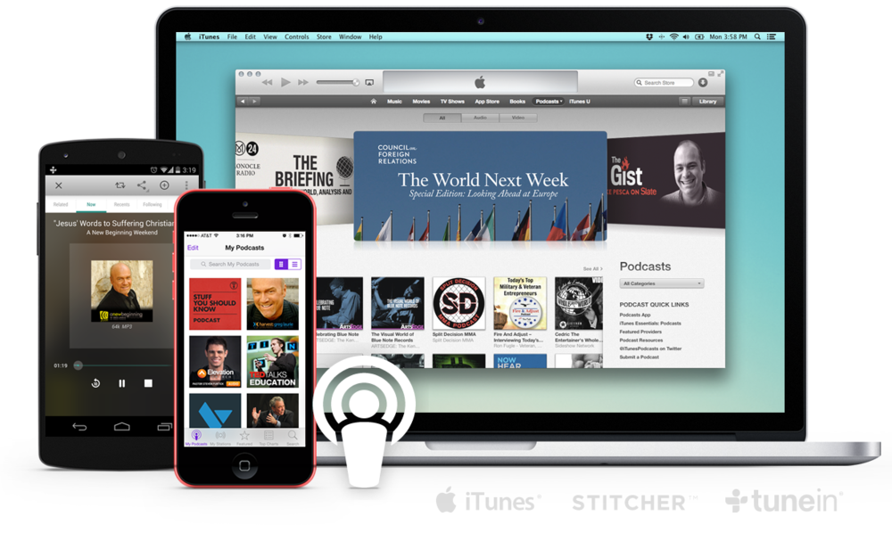 Create your church app and a podcast feed of your content in one click.