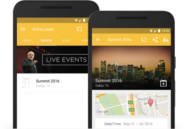 Users can easily find and rsvp to events in your church's app.