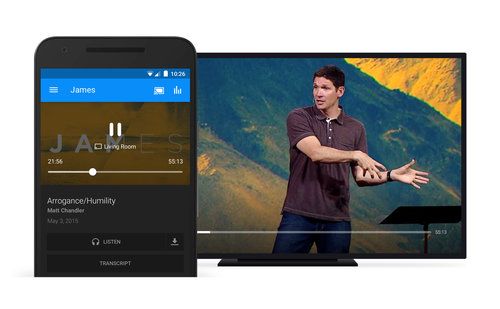 Google Cast and AirPlay allow users to watch content from your church's app on the big screen and other devices.