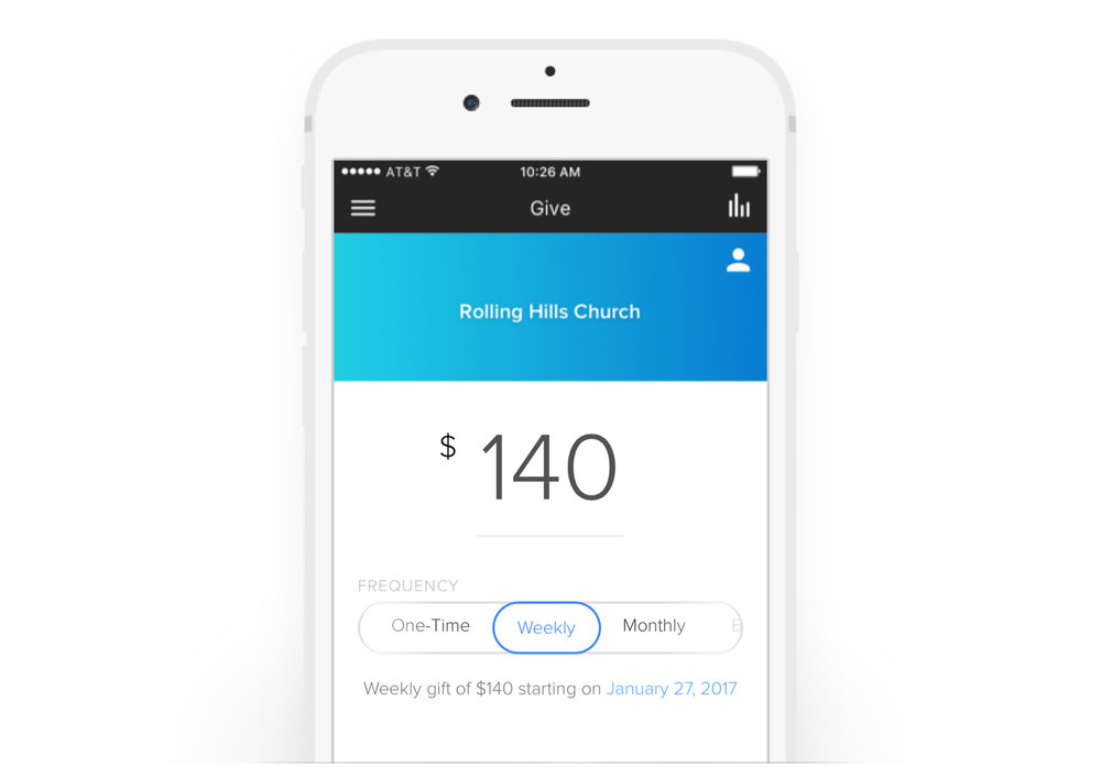 Add mobile giving to your church's app.