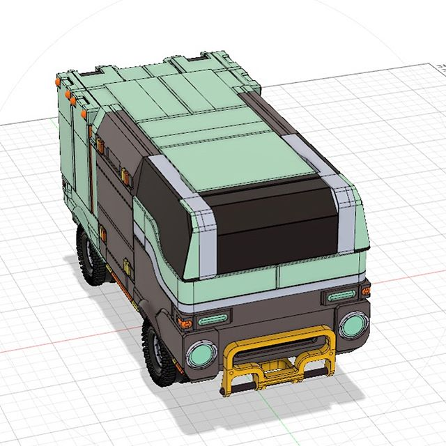 A break from #gamedev over the weekend to #model a kei/box van #cad #moi3d #fusion360 #conceptdesign #vehicledesign #scifi #sketchbook #conceptart