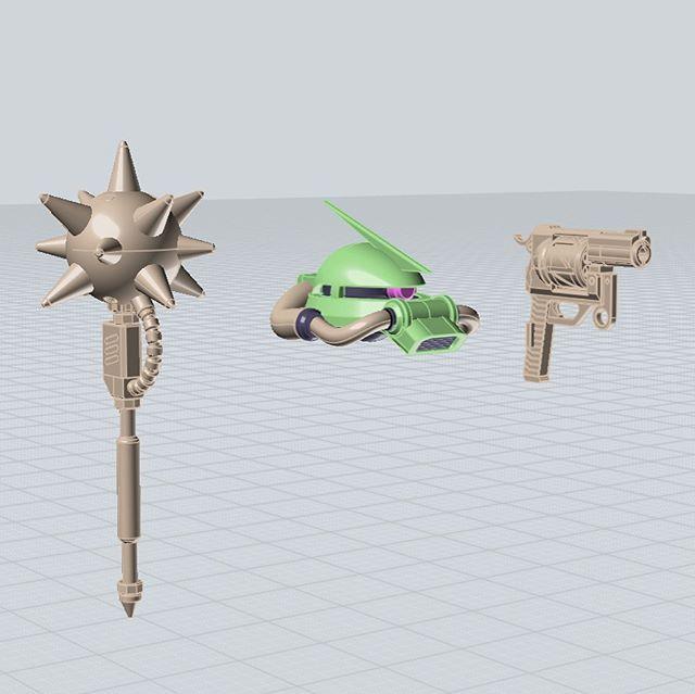#backlog Zaku II accessories scaled to 1/144 they fit #Bandai hands. #gunpla #zaku #zeon #gundam #cad #sketchbook #moi3d