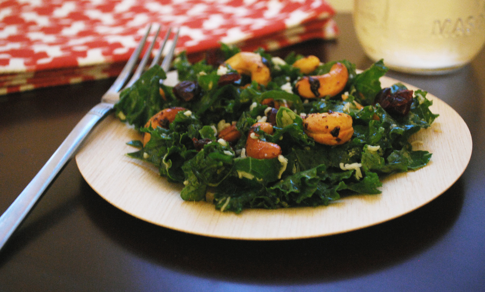 Kale salad with chili-spiced cashews & mustard-maple vinaigrette | Freckle & Fair