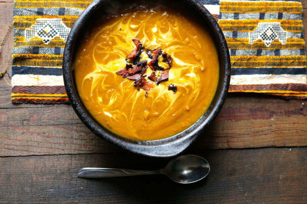 Brown butter squash and sweet potato soup with bacon from Naked Cuisine