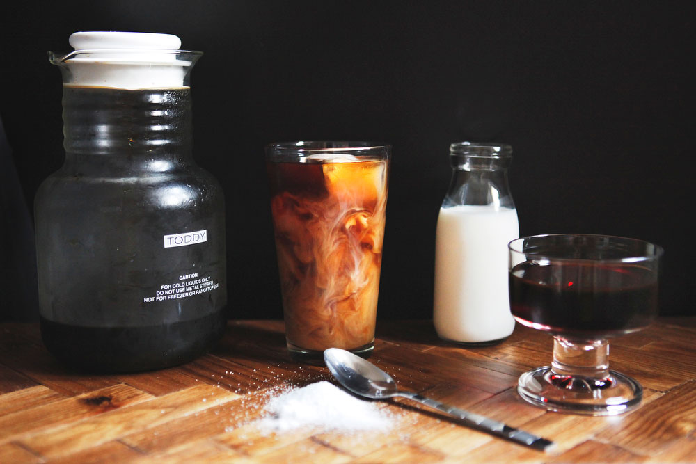 Burnt sugar simple syrup + cold brew iced coffee | Freckle & Fair