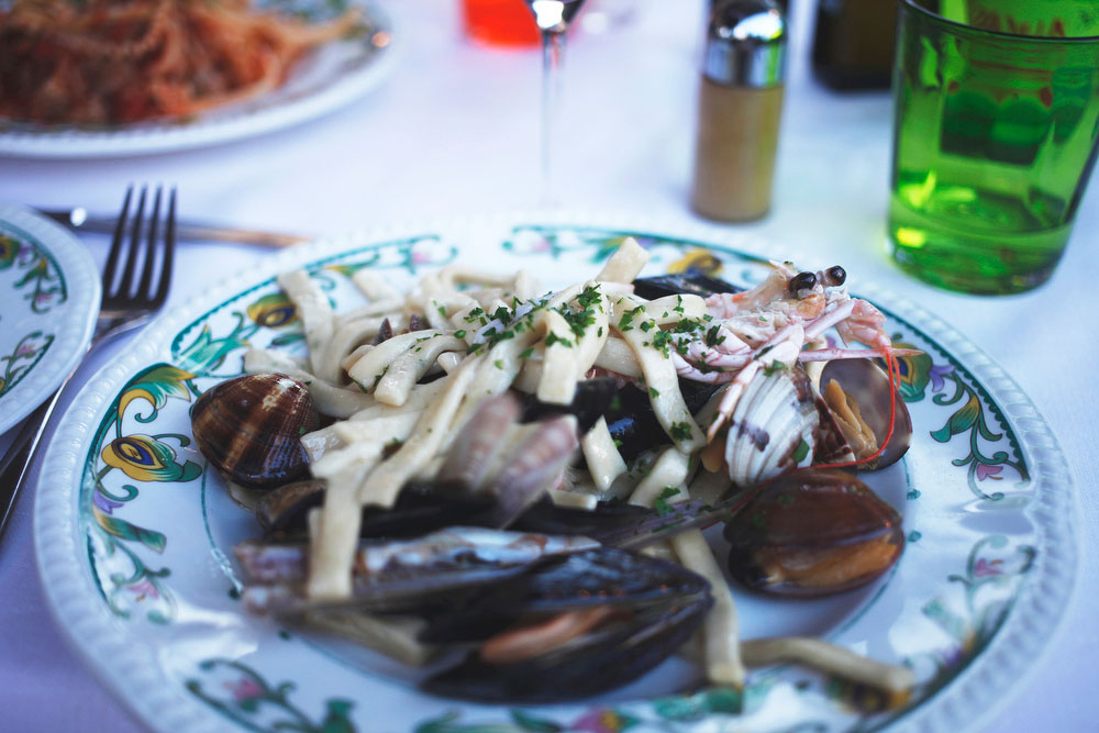 Fruitti di mare pasta on the Amalfi Coast | Freckle & Fair