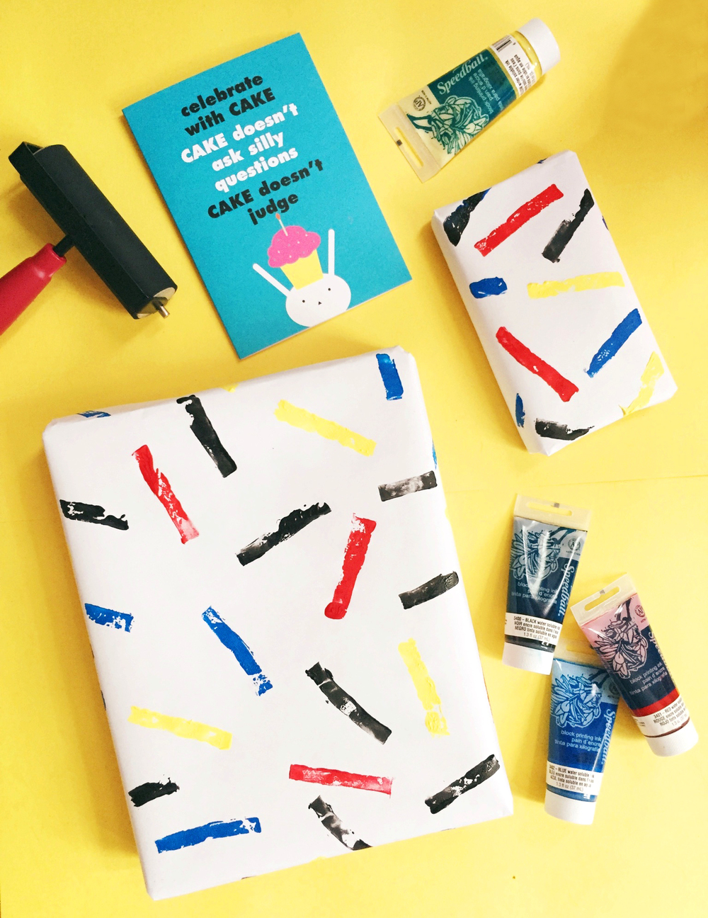 DIY Sprinkle Block Printed Wrapping Paper | Freckle & Fair