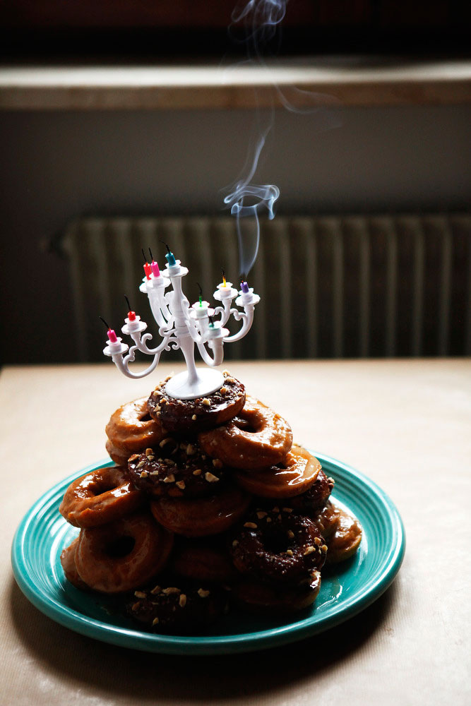 Pumpkin donut tower cake with nutella, maple bourbon and salted caramel glazes | Freckle & Fair