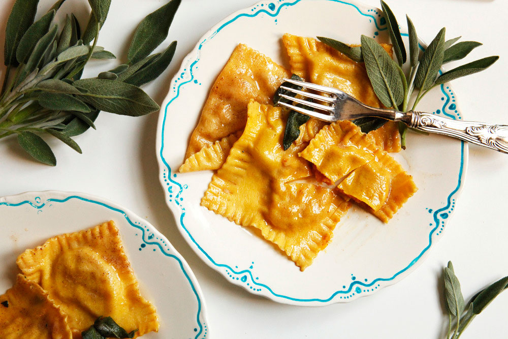 Pumpkin ravioli with sage butter | Freckle & Fair