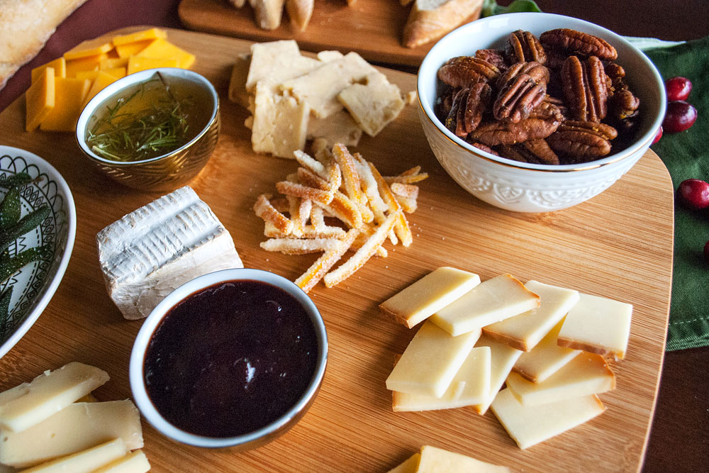 Cheese Party Platter with cranberry-balsamic reduction, curried brown sugar pecans & fried sage (and more!) | Freckle & Fair