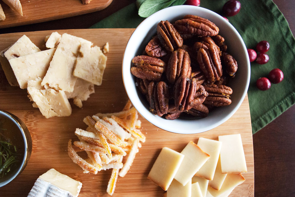Cheese party platter with cranberry-balsamic reduction, curried brown sugar pecans, & fried sage (and more!) | Freckle & Fair