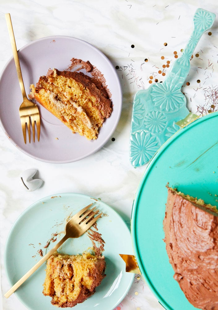 Peanut butter silk cake with chocolate coffee buttercream | www.freckleandfair.com