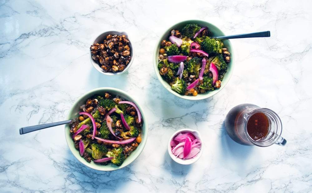 Winter broccoli bowl with pickled onions, spicy peanuts and chili-lime vinaigrette | freckleandfair.com