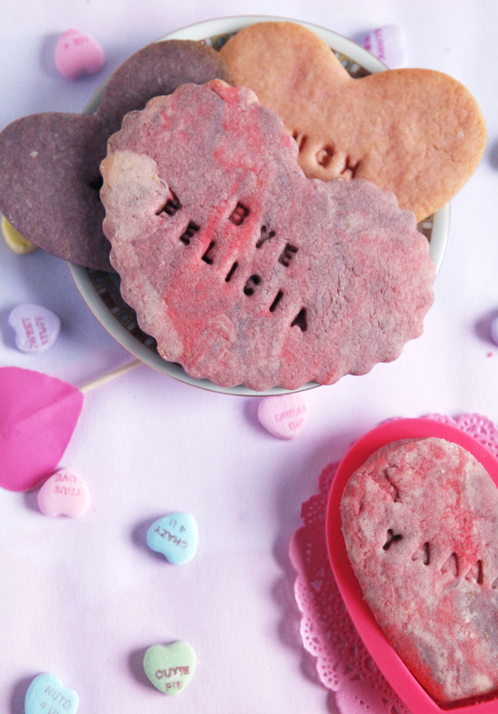 Marbled conversation heart sugar cookies | www.freckleandfair.com