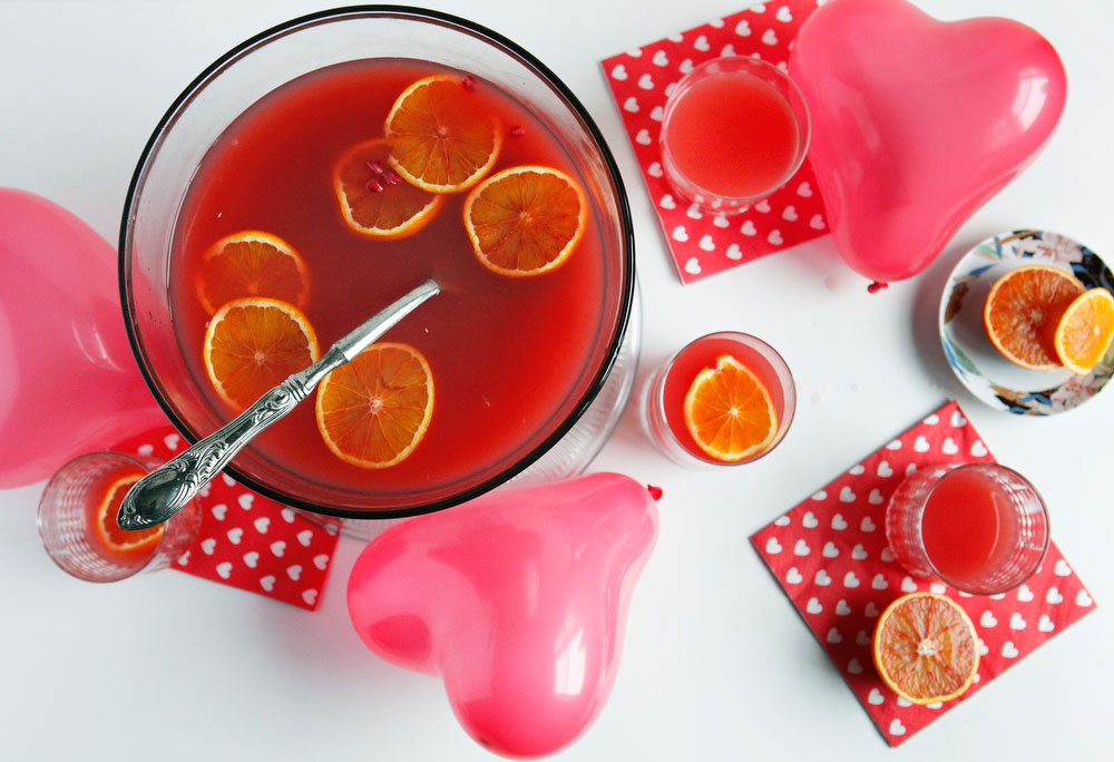 Blood orange wine spritzer punch with pomegranate for Valentine's Day | www.freckleandfair.com