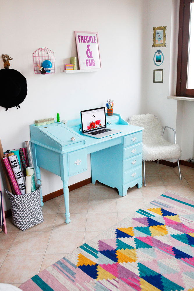 Pantone-inspired rose quartz and serenity office makeover | freckleandfair.com