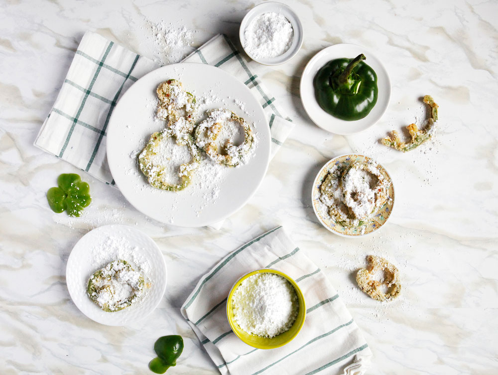 Fried green pepper rings with powdered sugar | www.freckleandfair.com