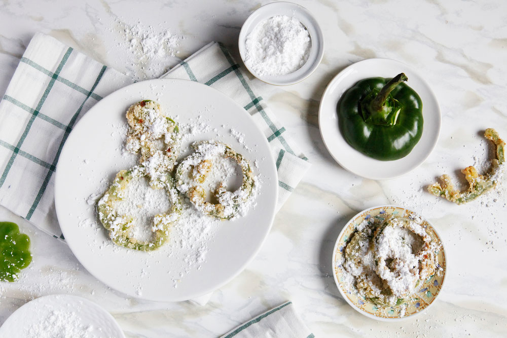 Fried green pepper rings with powdered sugar | freckleandfair.com