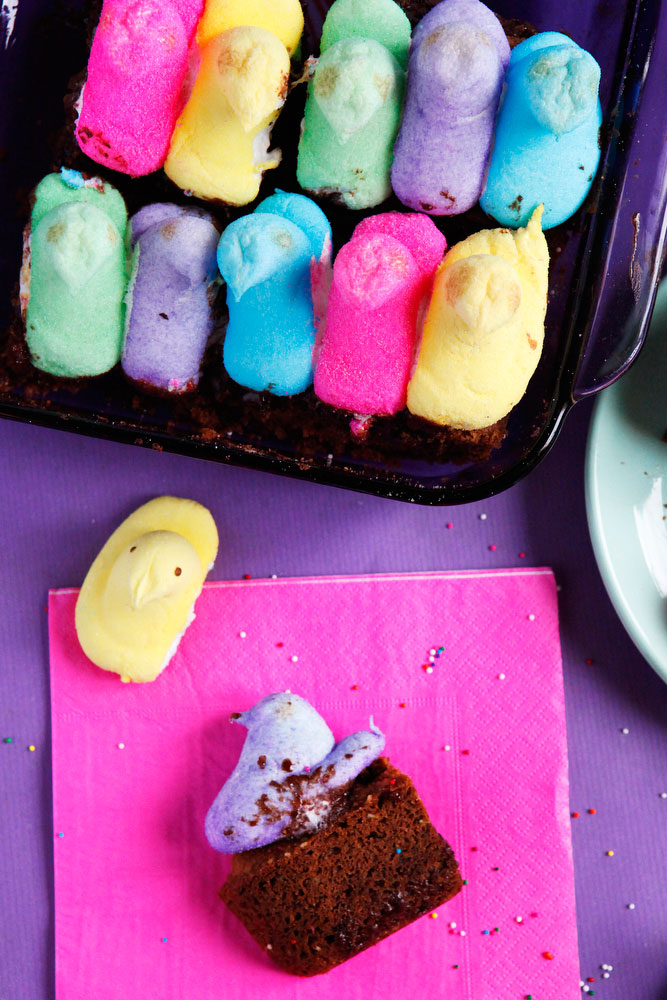Peeps s'mores bars for Easter | freckleandfair.com
