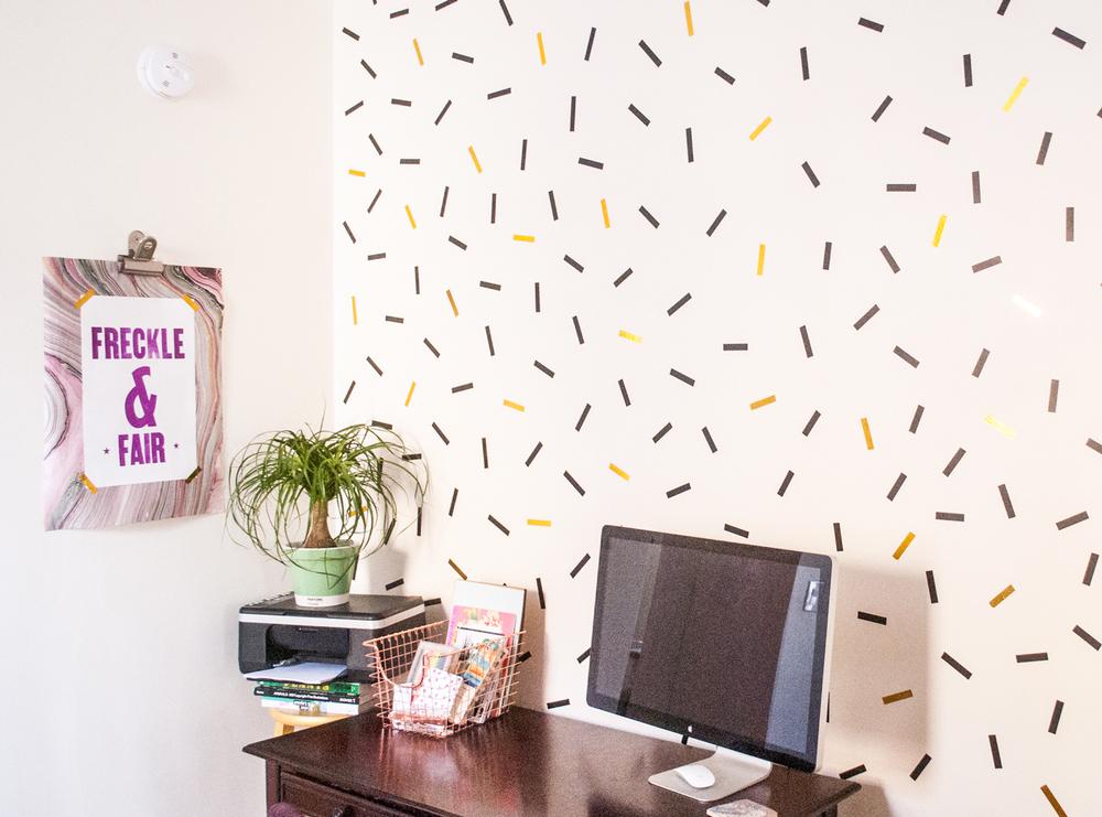 DIY oversized confetti mural using washi tape — Freckle