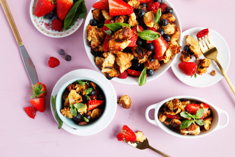 Triple berry dessert panzanella with honey balsamic reduction | freckleandfair.com