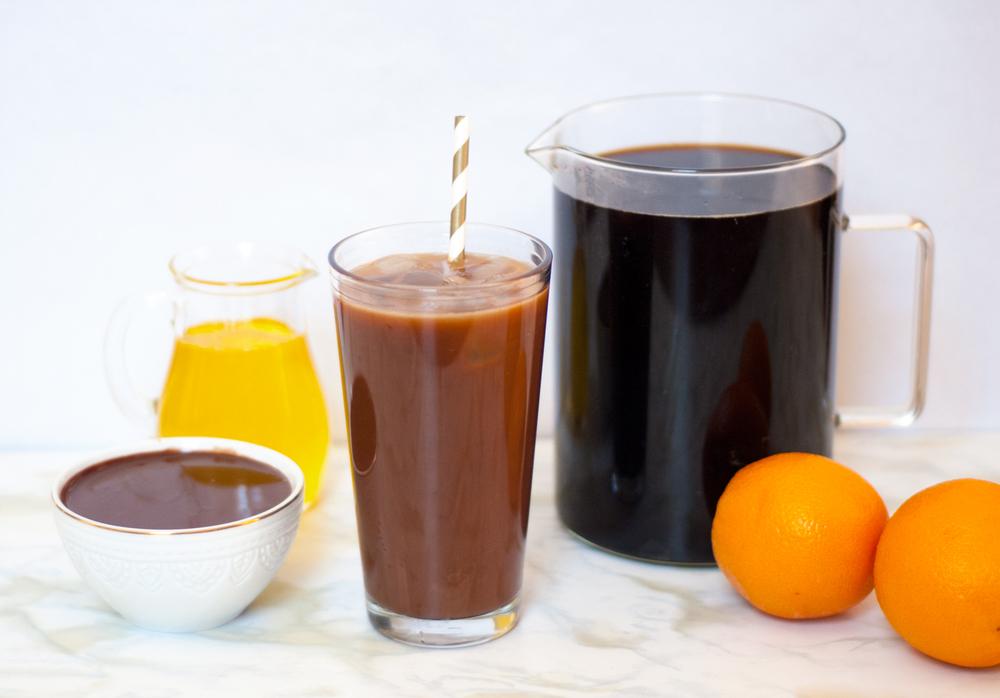 Dark chocolate orange iced coffee | freckleandfair.com