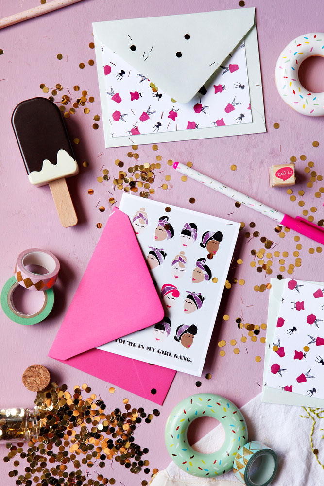 Girlie greeting cards for friends | freckleandfair.com