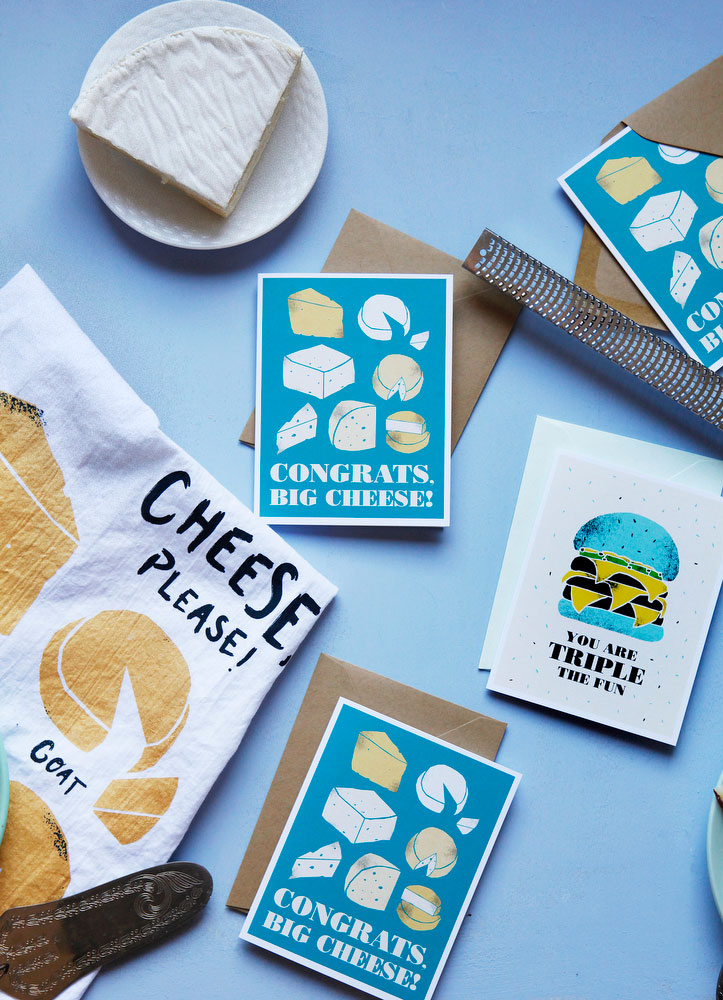 Congratulations greeting cards with cheese | freckleandfair.com